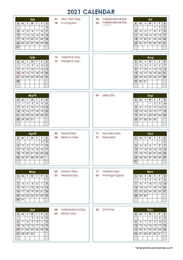 2021 Yearly Calendar Template Vertical Design - Free Printable Templates with Two Year Calendar Template 2021 2021