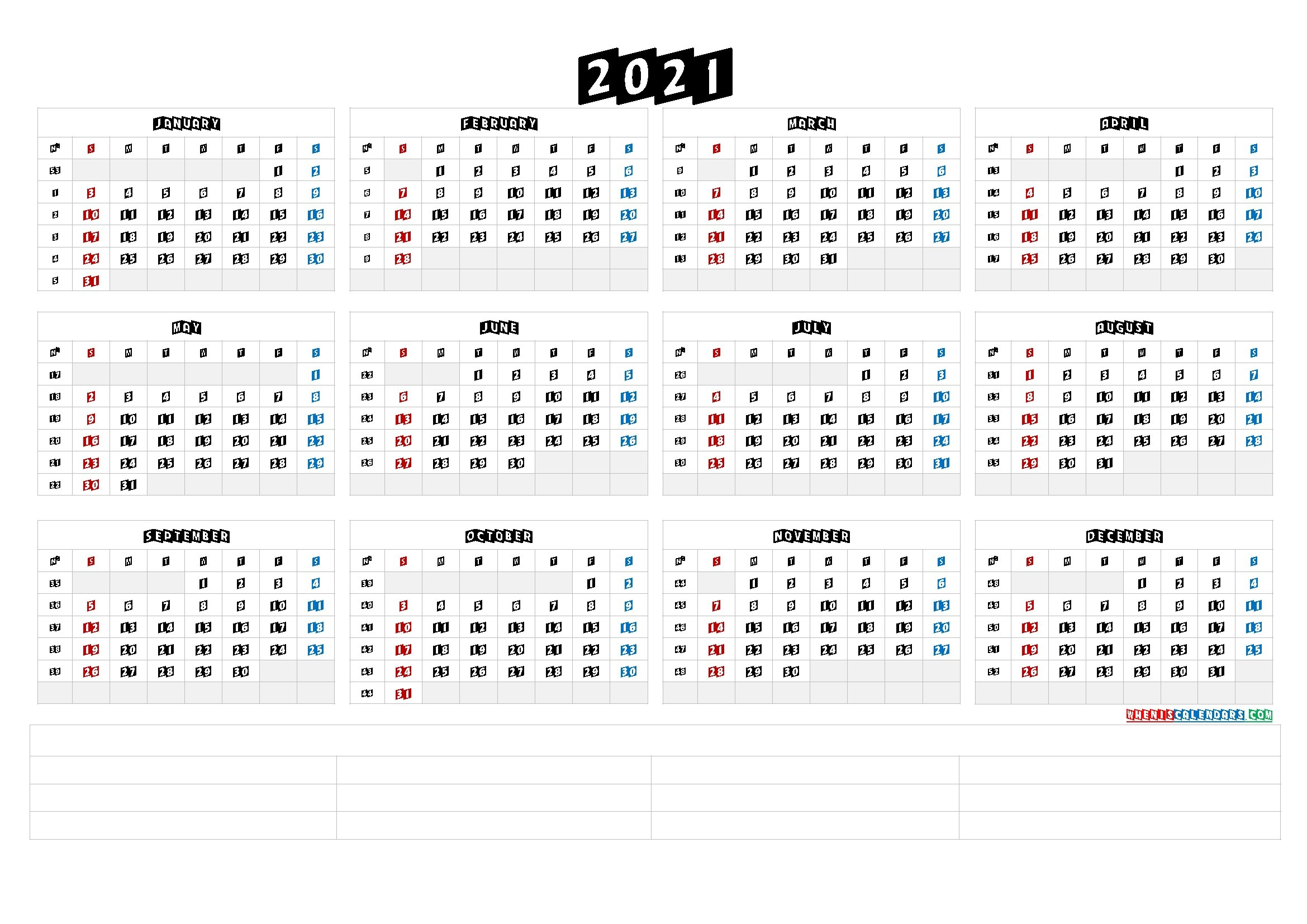 2021 Yearly Calendar Template Word - Calendraex with 2021 Yearly Calendar Template Printable Photo