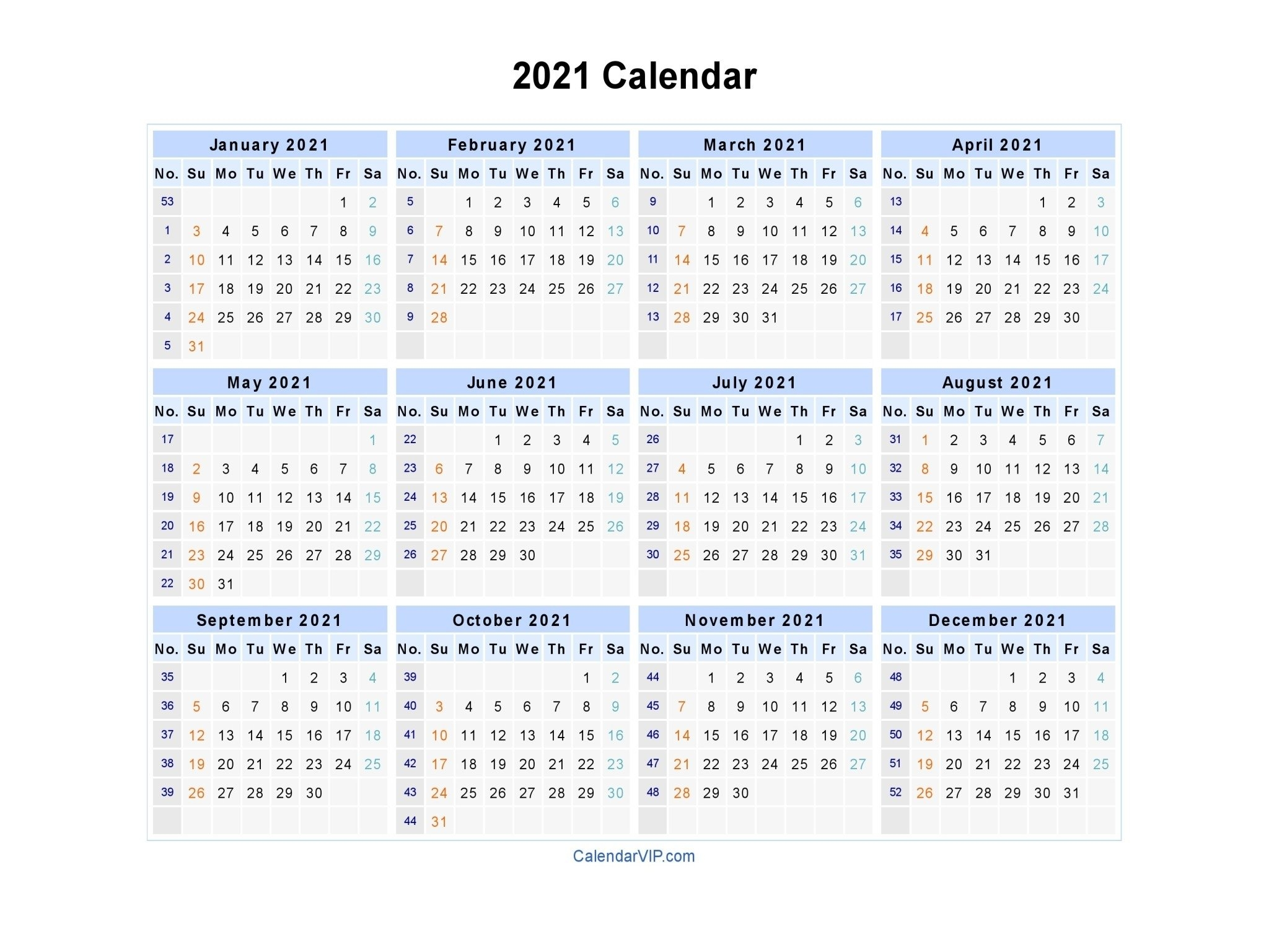 2021 Yearly Calendar With Boxes   Calendar Template Printable within Large Print Free Printable Calendar 2021