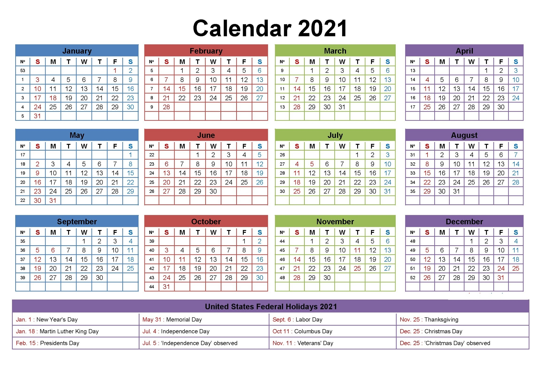 2021 Yearly Calendar With Holidays Templates | 101 Activity pertaining to Microsoft Photo Calendar Templates 2021 Photo