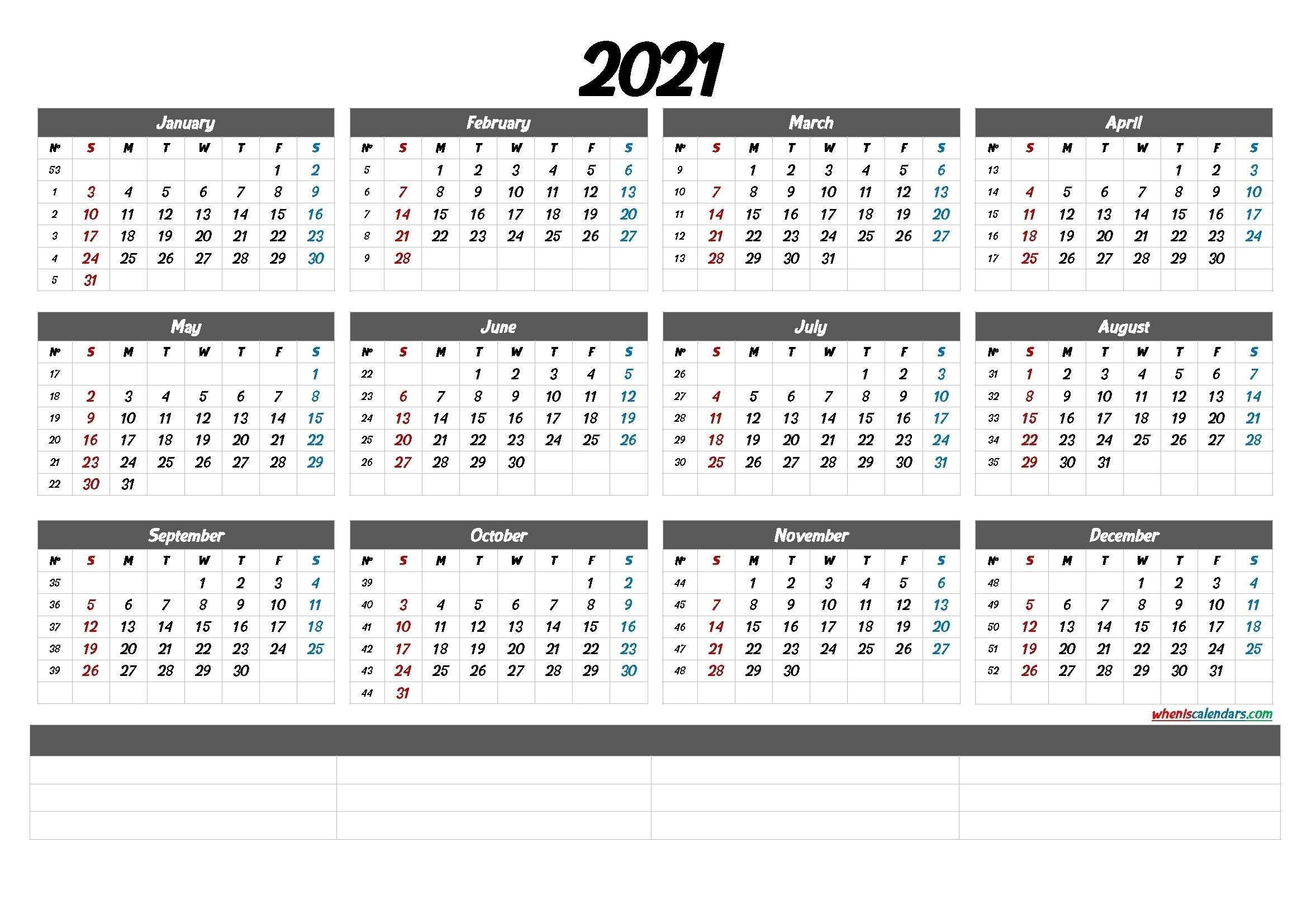2021 Yearly Calendar With Week Number Printable | Ten Free Printable Calendar 2020-2021 intended for 2021 Monthly Calendar Printable Free Image