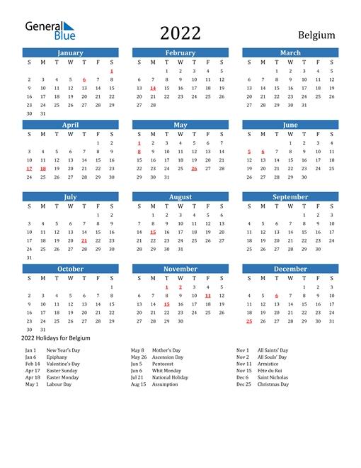 2022 Calendar - Belgium With Holidays with Calendar 2021 Brunei For Print Photo