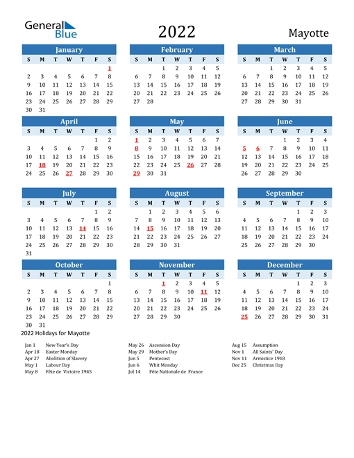 2022 Calendar - Mayotte With Holidays inside 2021 2022 Calendar Printable One Page