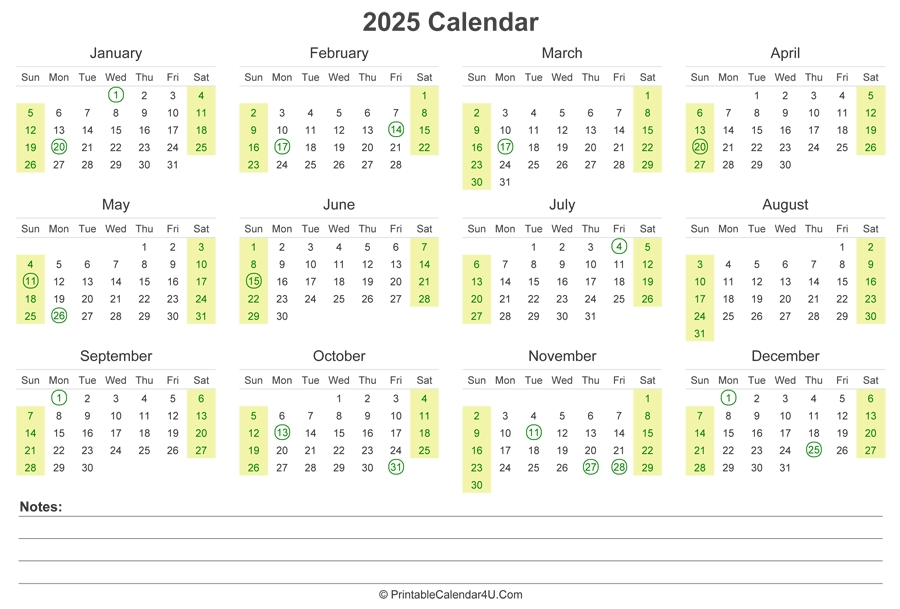 2025 Calendar With Us Holidays And Notes (Landscape Layout) regarding Calender 2021 To 2025 Photo