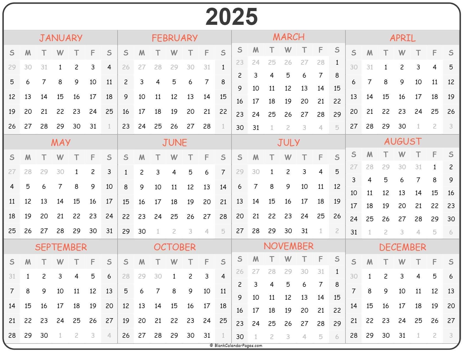 2025 Year Calendar | Yearly Printable regarding Calender 2021 To 2025