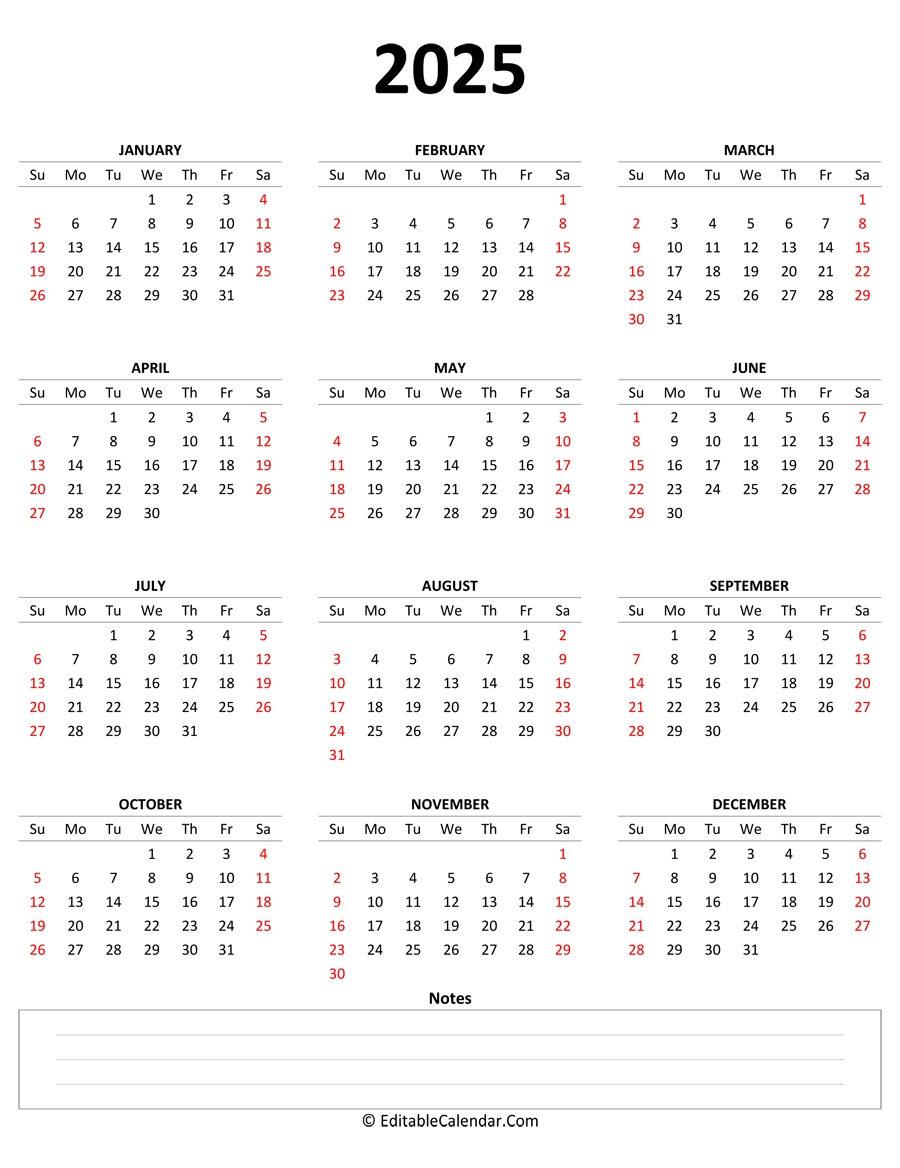 2025 Yearly Calendar With Notes (Portrait Orientation) in 2021 To 2025 Calendar