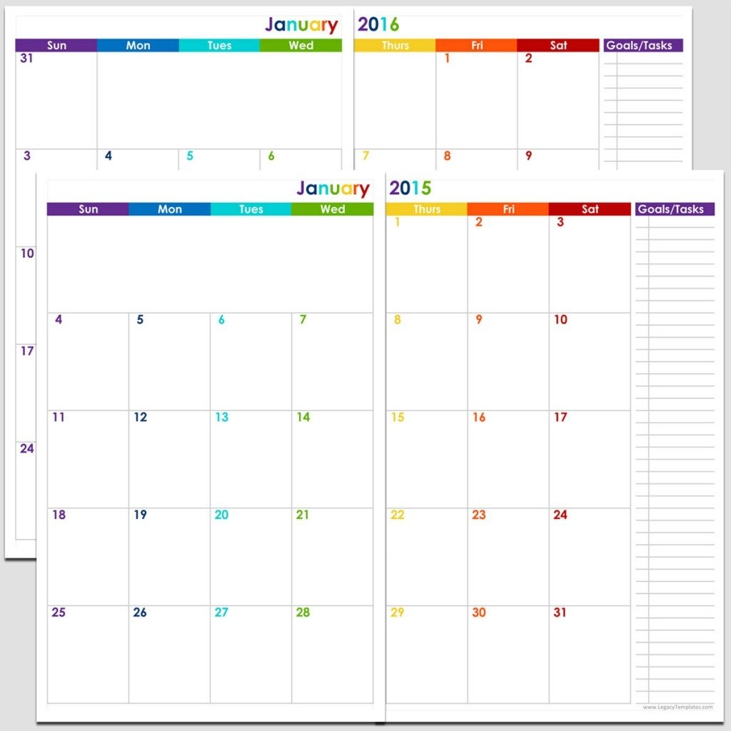24-Months 2 Page Calendar - Half Size | Legacy Templates in Sample One Page Multi Year Calendars