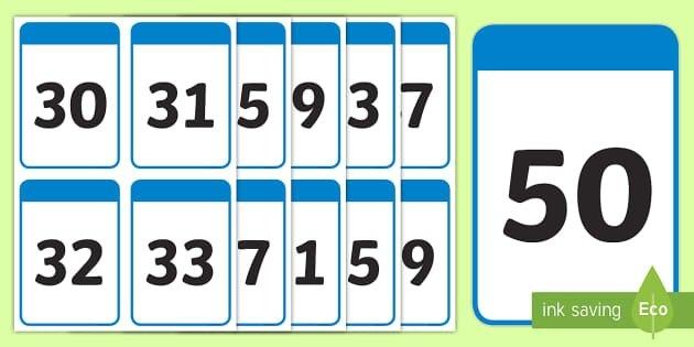 30-50 Number Digit Flashcards (Teacher Made) inside Printable Number Cards 1-31 Graphics