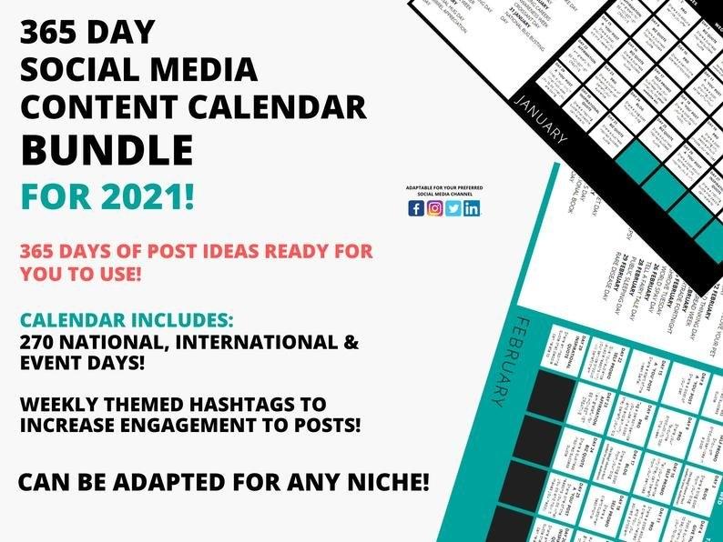 365 Day Social Media Content Calendar Bundle 2021 110 | Etsy throughout 2021 Broadcast Calendar For Media Graphics