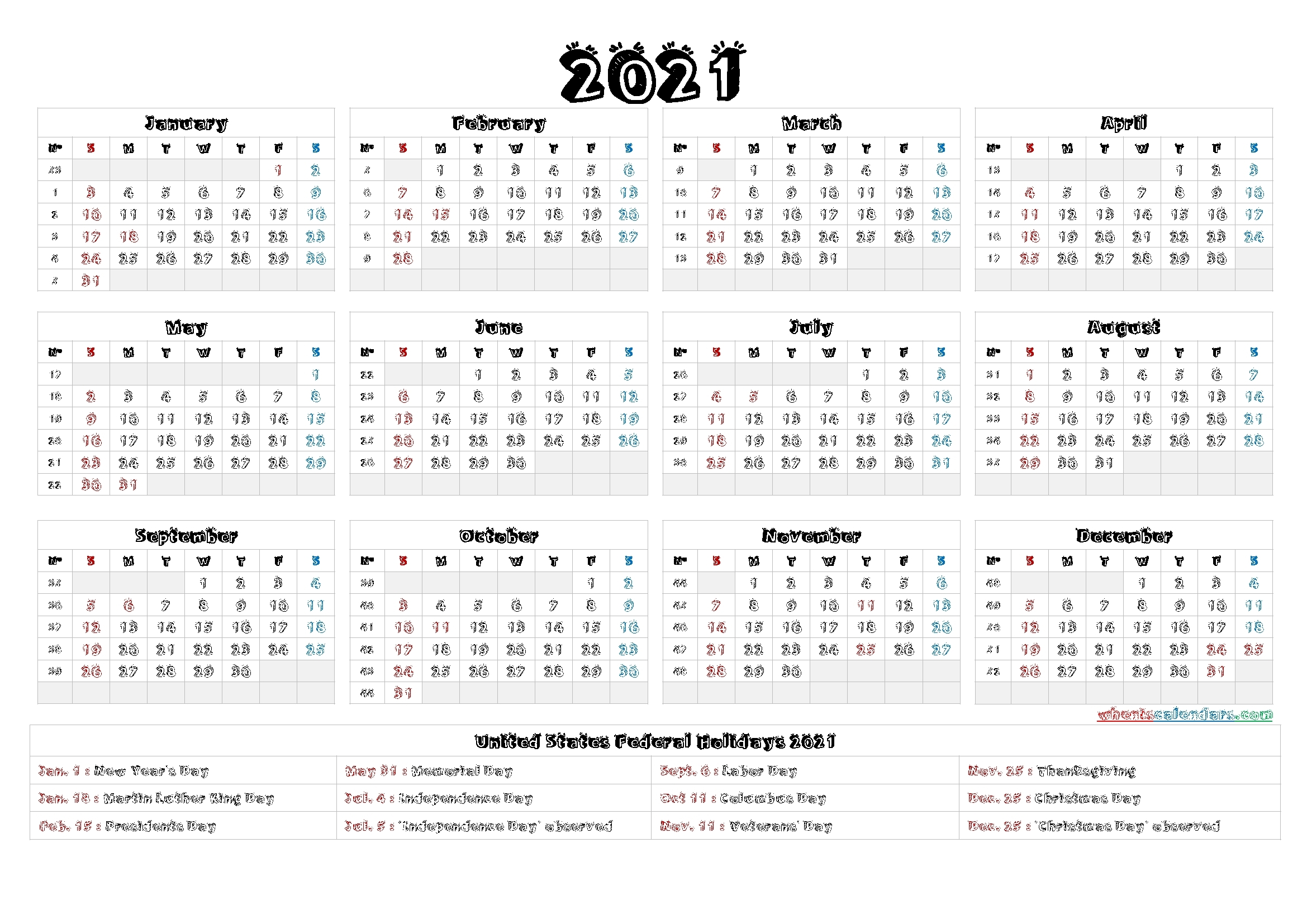 4Mmonth Calendar On One Page 2021 - Example Calendar Printable in Free Printable Calendar 2021 Graphics