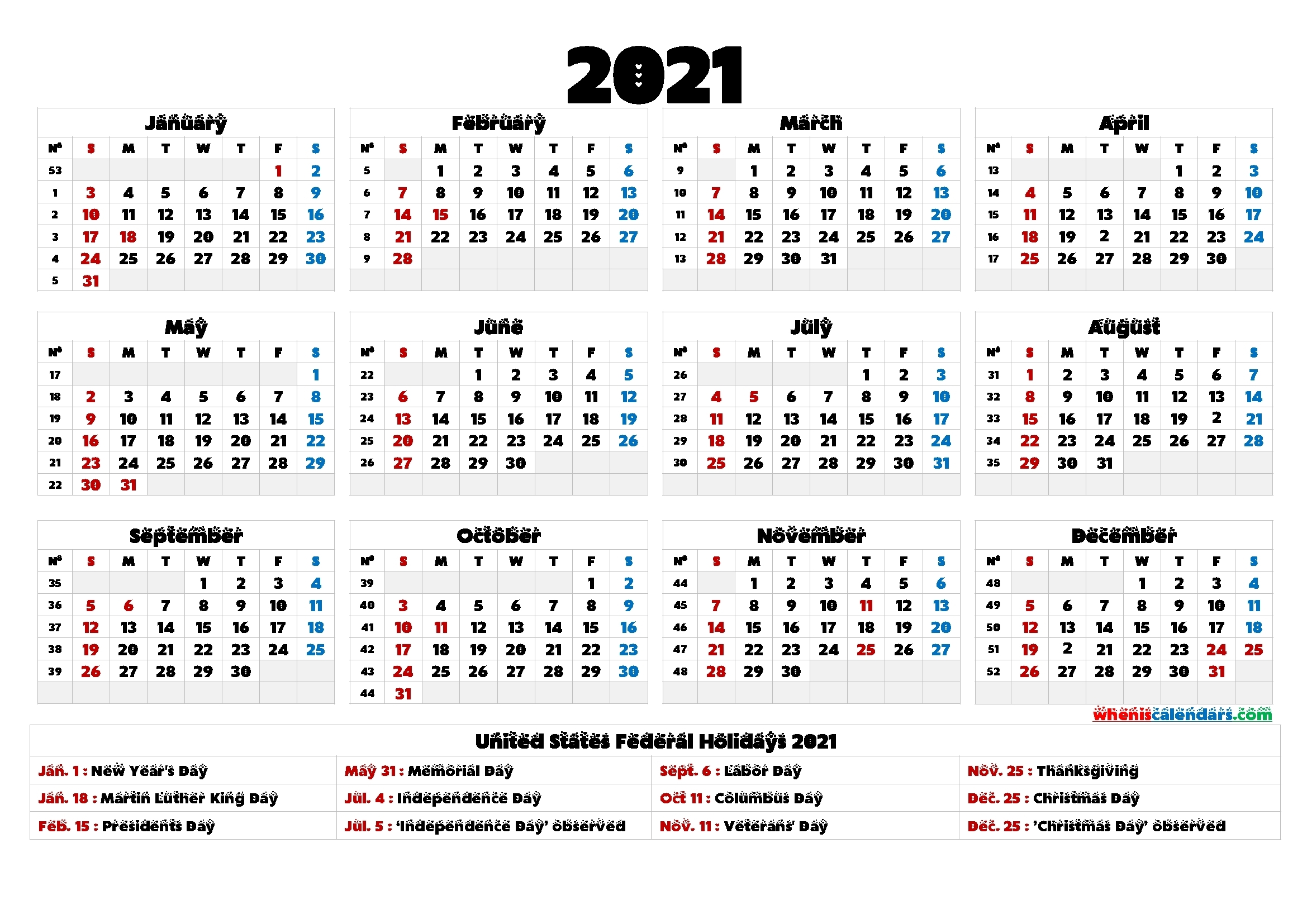 4Mmonth Calendar On One Page 2021 - Example Calendar Printable with 2021 Yearly Calendar Template Printable