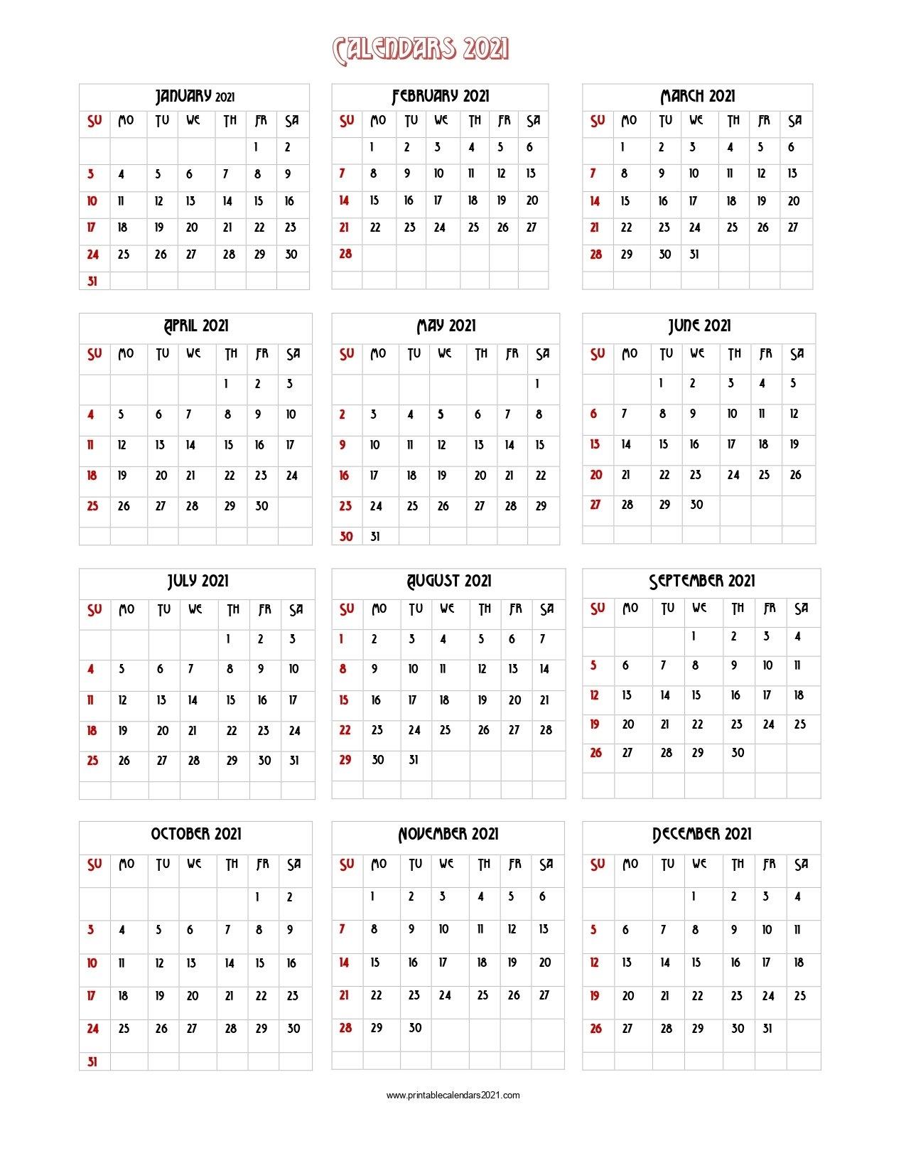 56+ Design Printable Calendar 2021 One Page, Yearly Calendar, Blank Calendar Single Page regarding Free Photo 2021 Calendar To Download Graphics