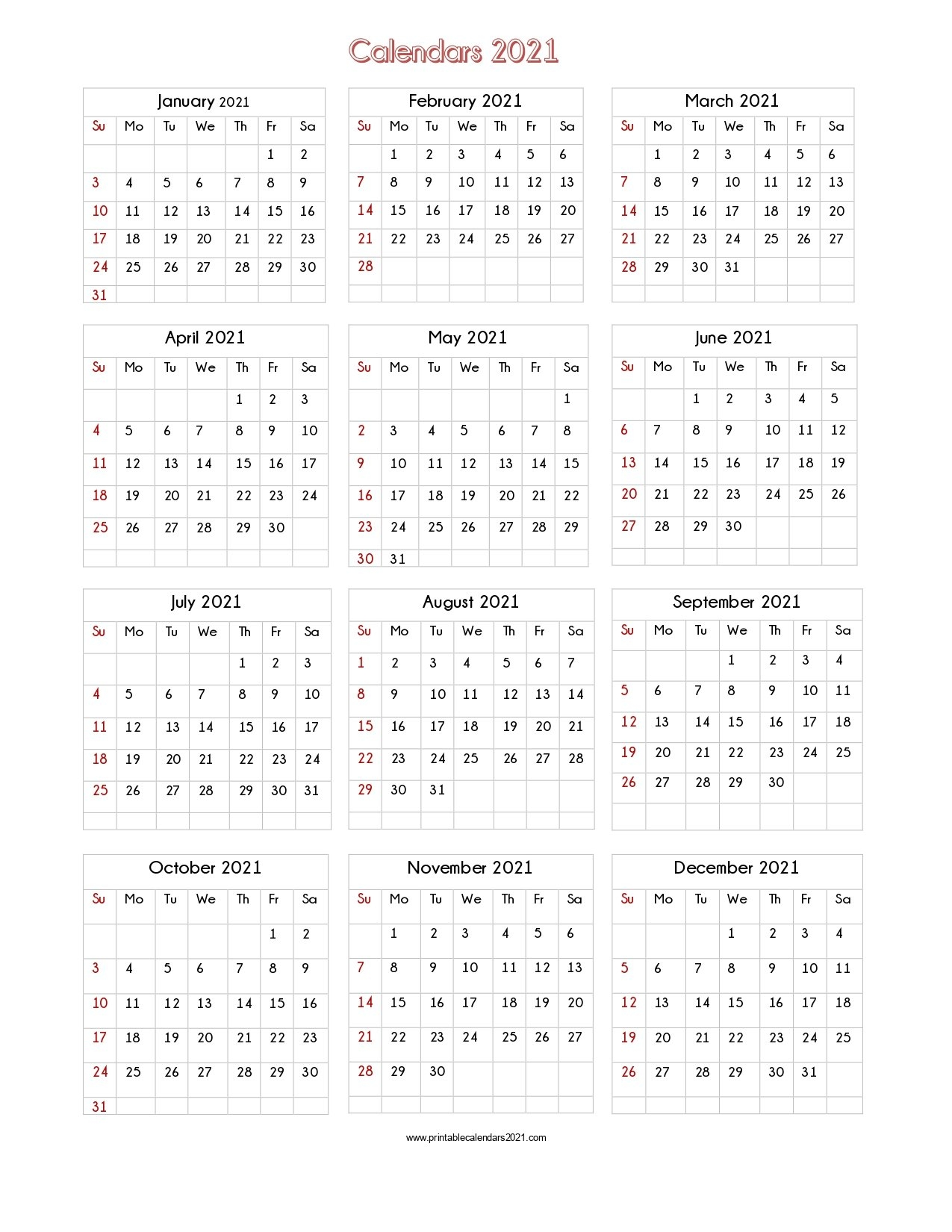 56+ Design Printable Calendar 2021 One Page, Yearly Calendar, Blank Calendar Single Page within Printable Calendars For 2021