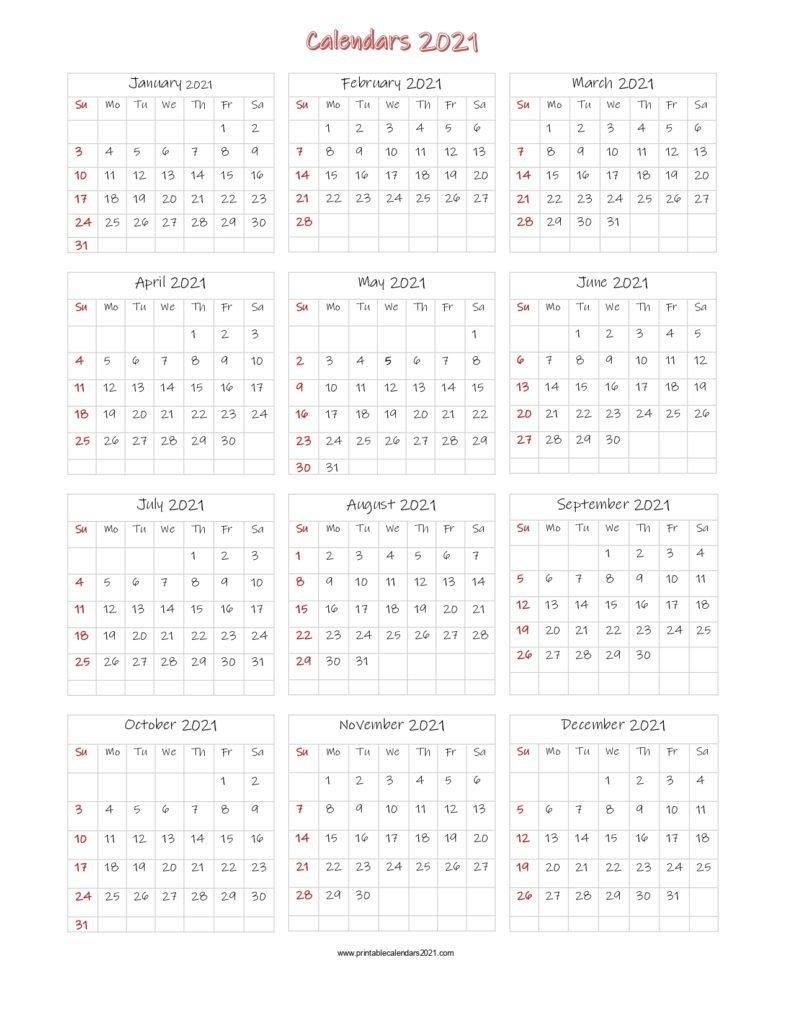 56+ Printable Calendar 2021 One Page, Printable 2021 Yearly Calendar in One Page2021 Calendar Printable Images Image