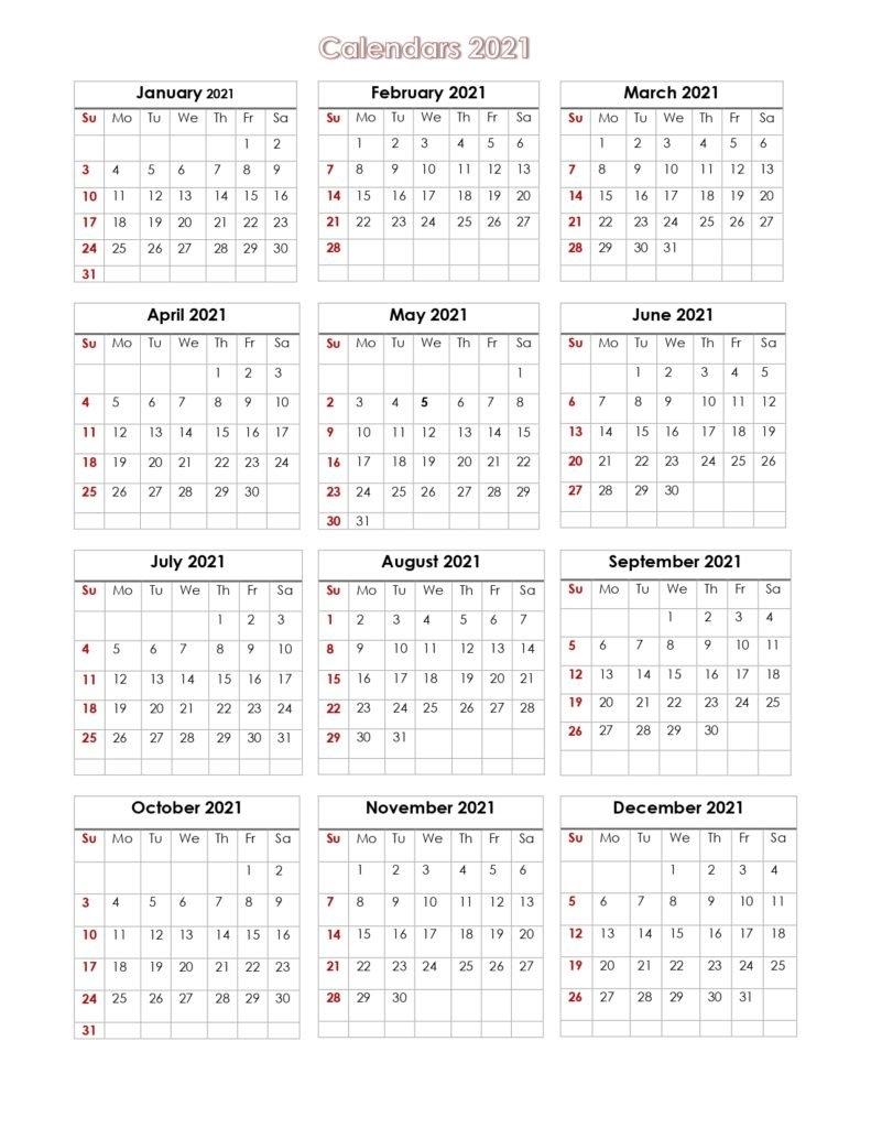 56+ Printable Calendar 2021 One Page, Printable 2021 Yearly Calendar inside One Page 2021 Calendar Printable Images Graphics
