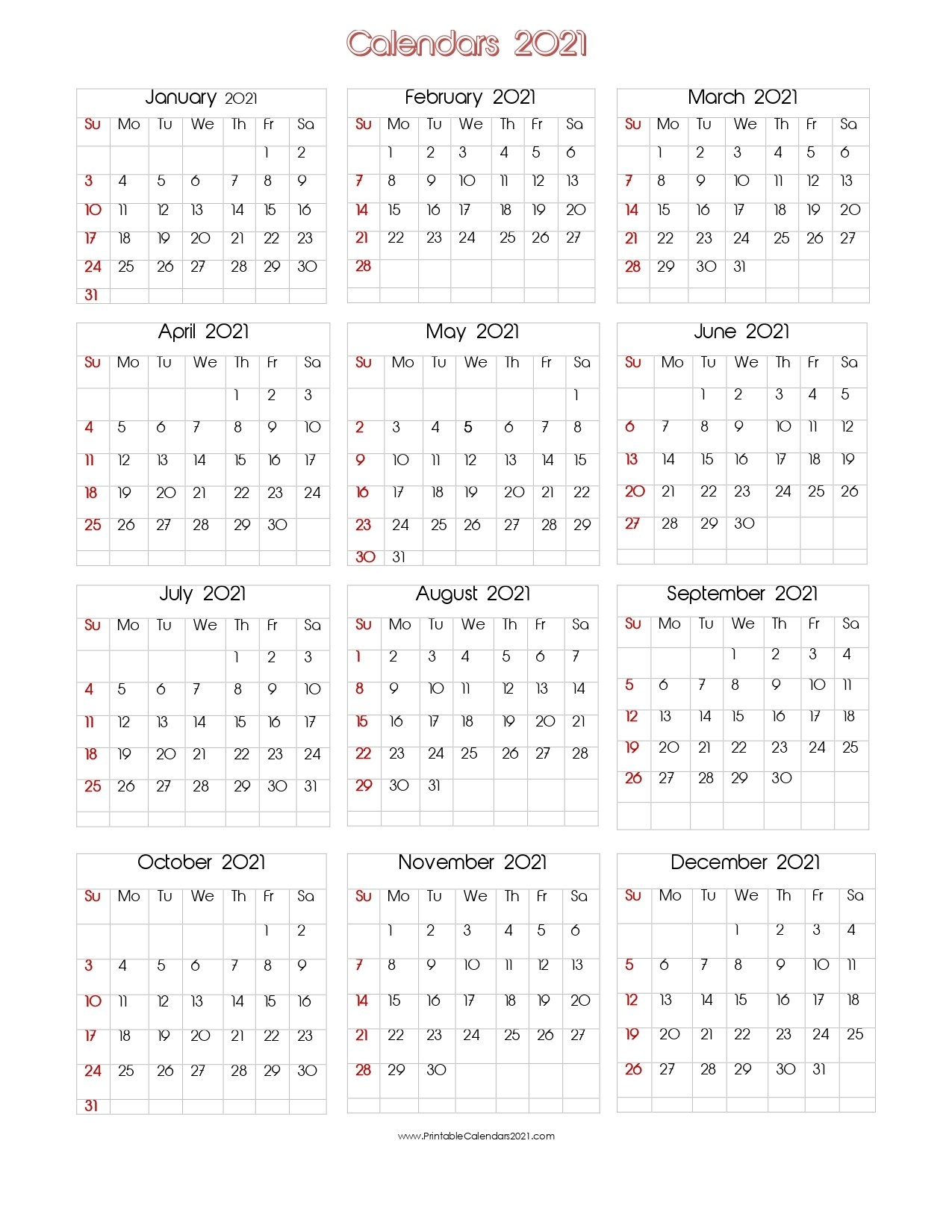 56+ Printable Calendar 2021 One Page, Printable 2021 Yearly Calendar inside One Page2021 Calendar Printable Images