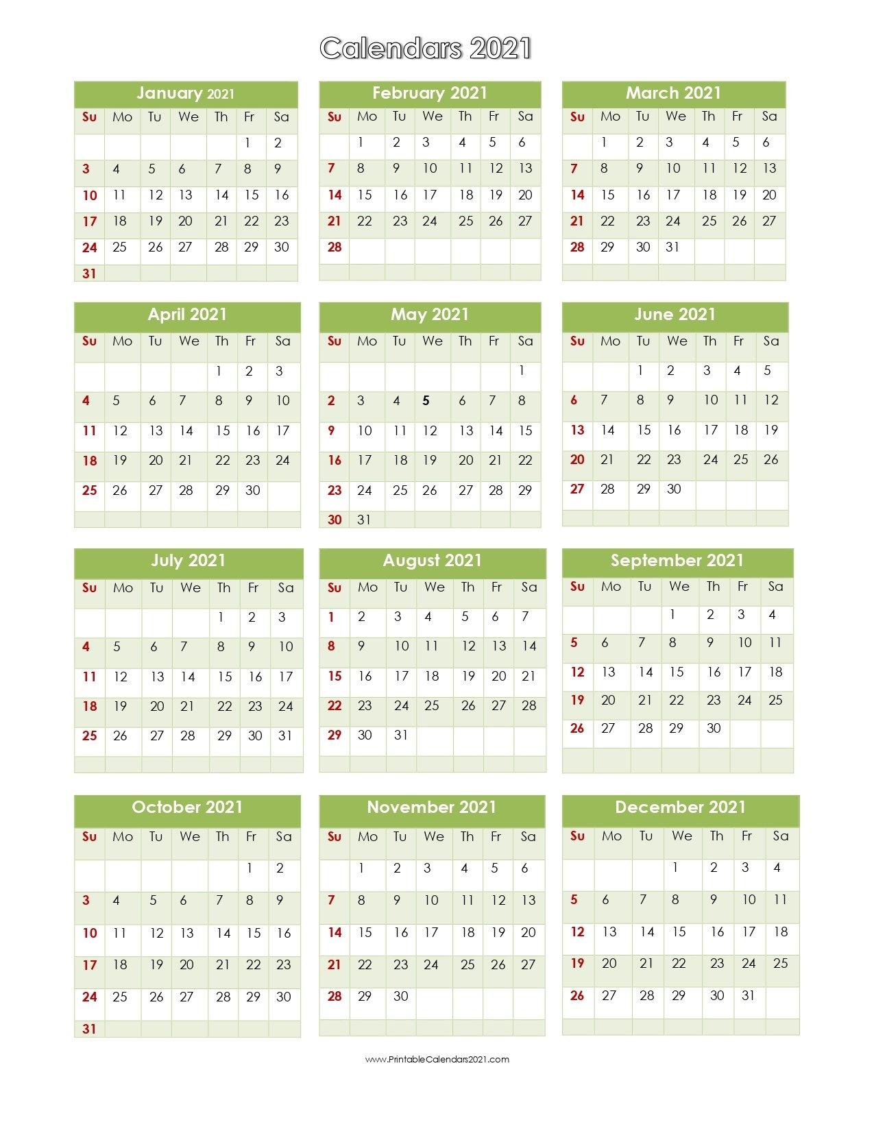 56+ Printable Calendar 2021 One Page, Printable 2021 Yearly Calendar pertaining to One Page Photo Calendar 2021