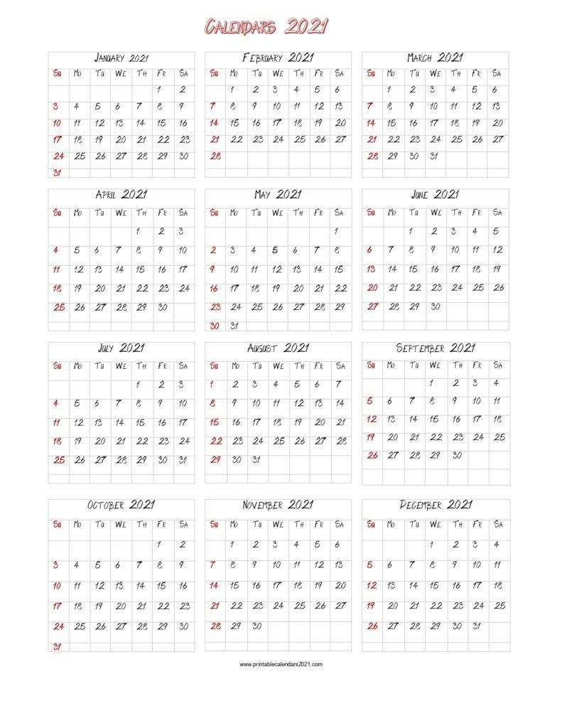 56+ Printable Calendar 2021 One Page, Printable 2021 Yearly Calendar regarding 2021 Australian Calendars To Print
