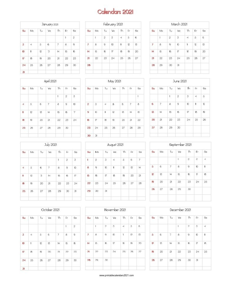 56+ Printable Calendar 2021 One Page, Printable 2021 Yearly Calendar regarding One Page 2021 Calendar Printable Images