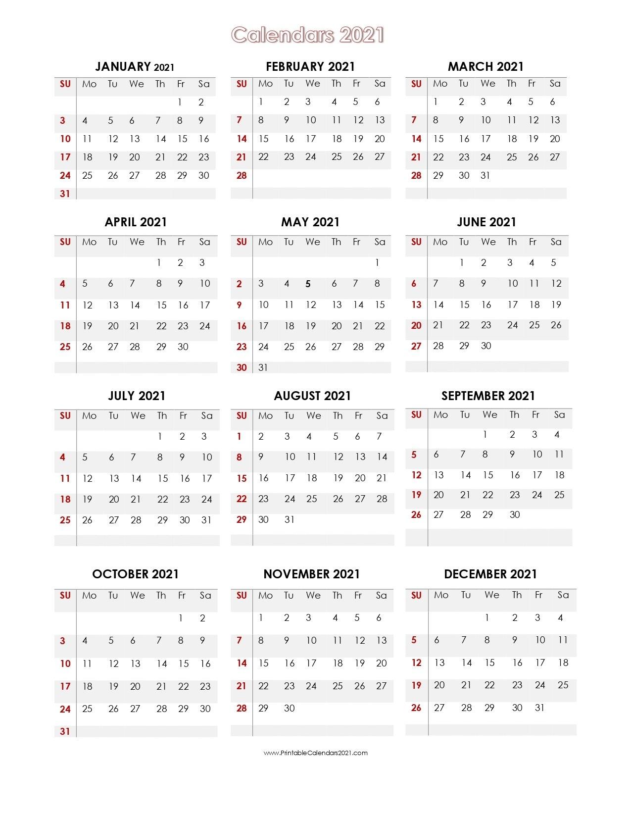 56+ Printable Calendar 2021 One Page, Printable 2021 Yearly Calendar throughout 2021 Calendar Printable One Page Photo