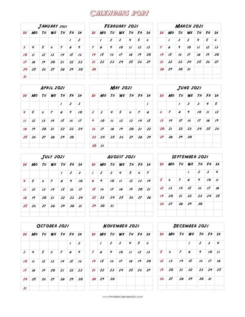 56+ Printable Calendar 2021 One Page, Printable 2021 Yearly Calendar throughout 2021 Calendar Printable One Page
