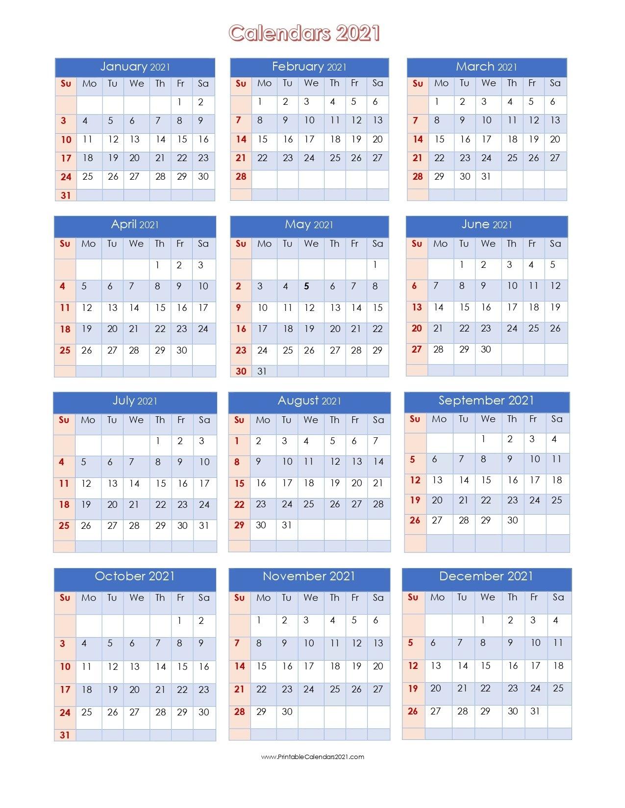 56+ Printable Calendar 2021 One Page, Printable 2021 Yearly Calendar with 2021 Julian Calendar Pdf Image