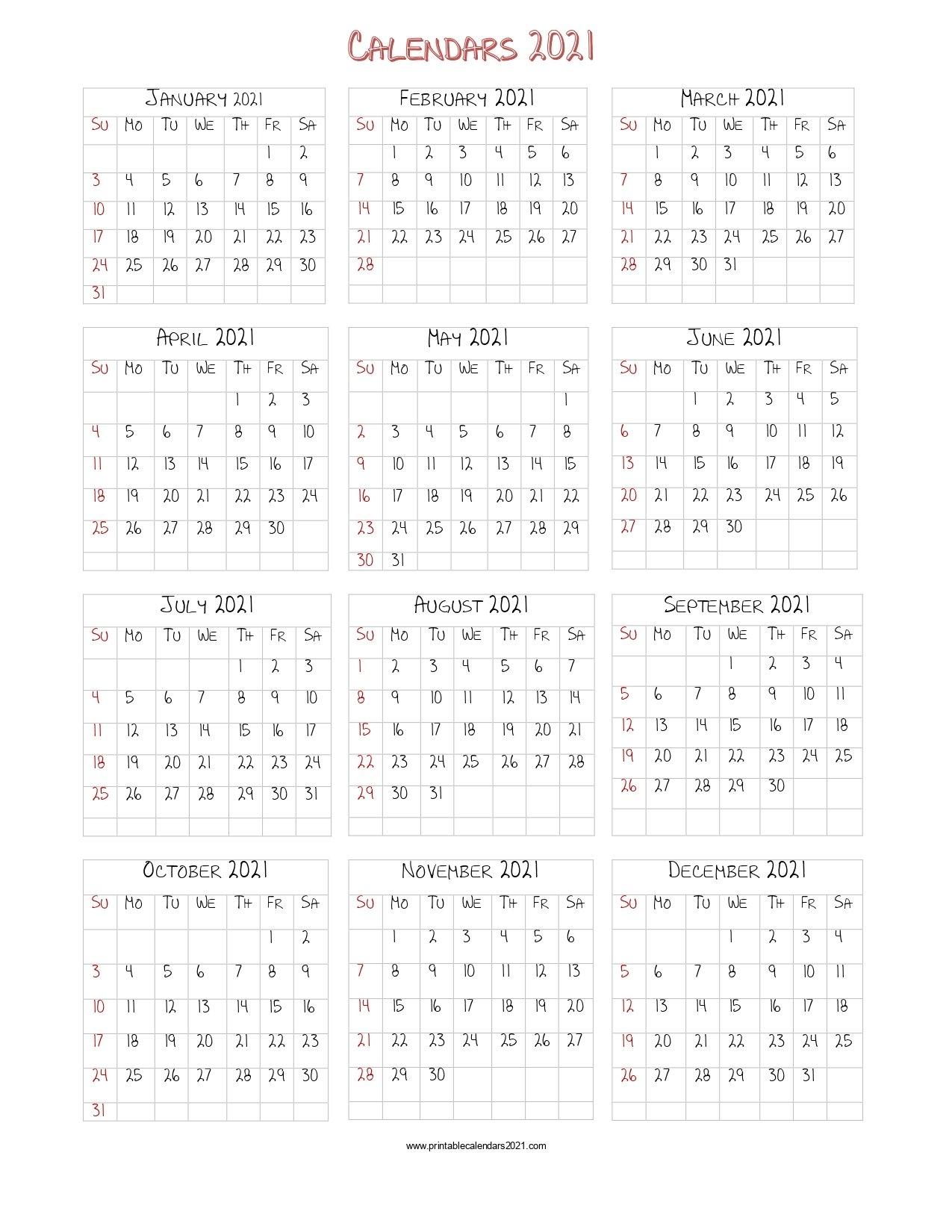 56+ Printable Calendar 2021 One Page, Printable 2021 Yearly Calendar with Calendar 2019 2021 2021 Printable Free