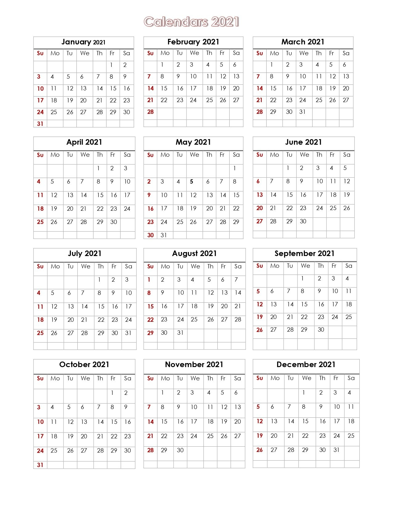 56+ Printable Calendar 2021 One Page, Printable 2021 Yearly Calendar with Free Photo 2021 Calendar To Download Graphics