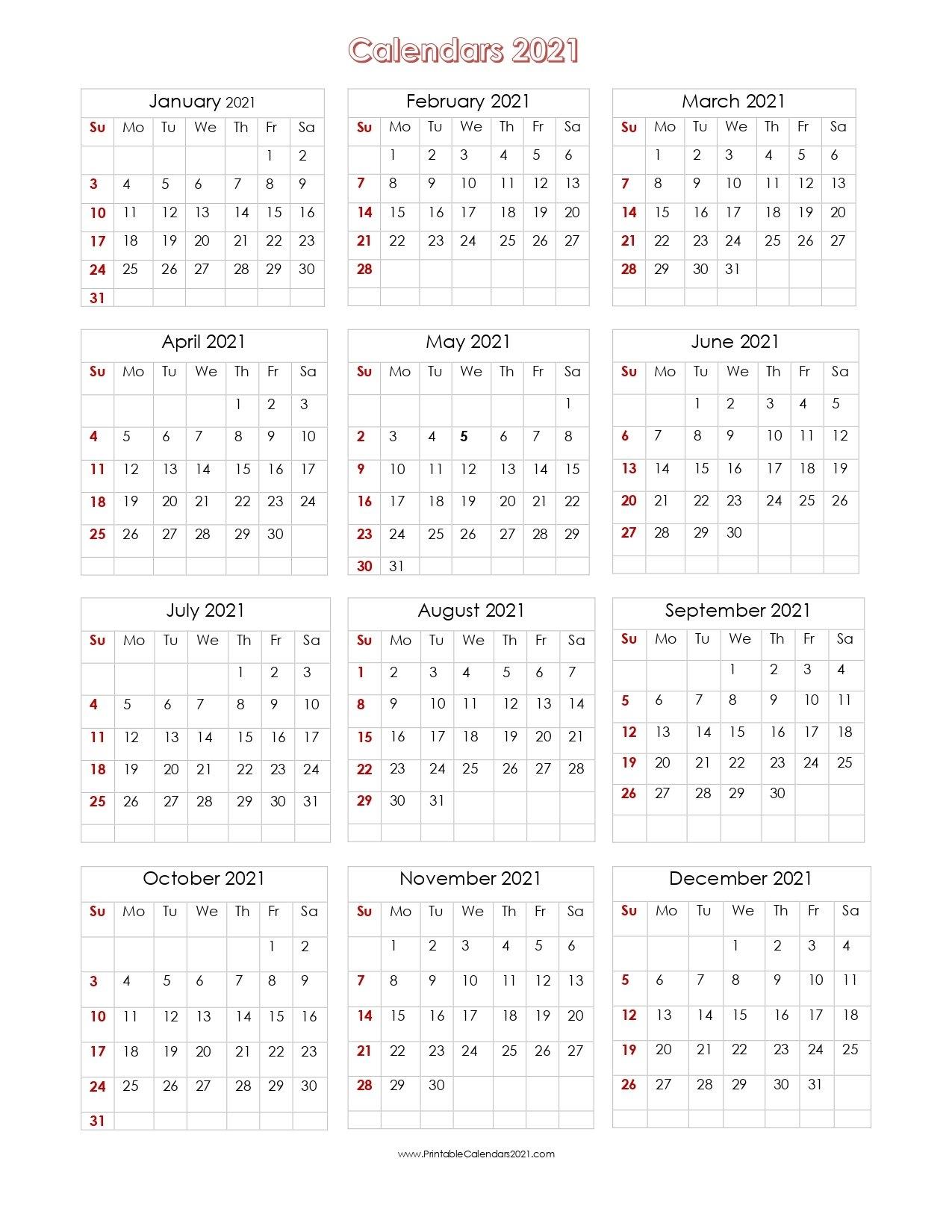 56+ Printable Calendar 2021 One Page, Printable 2021 Yearly Calendar with One Page 2021 Calendar Printable Images