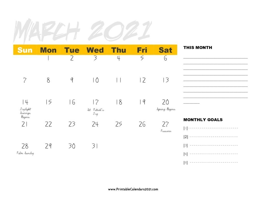 68+ Free March 2021 Calendar Printable With Holidays, Blank, Pdf regarding 2021 Calendars With Lines