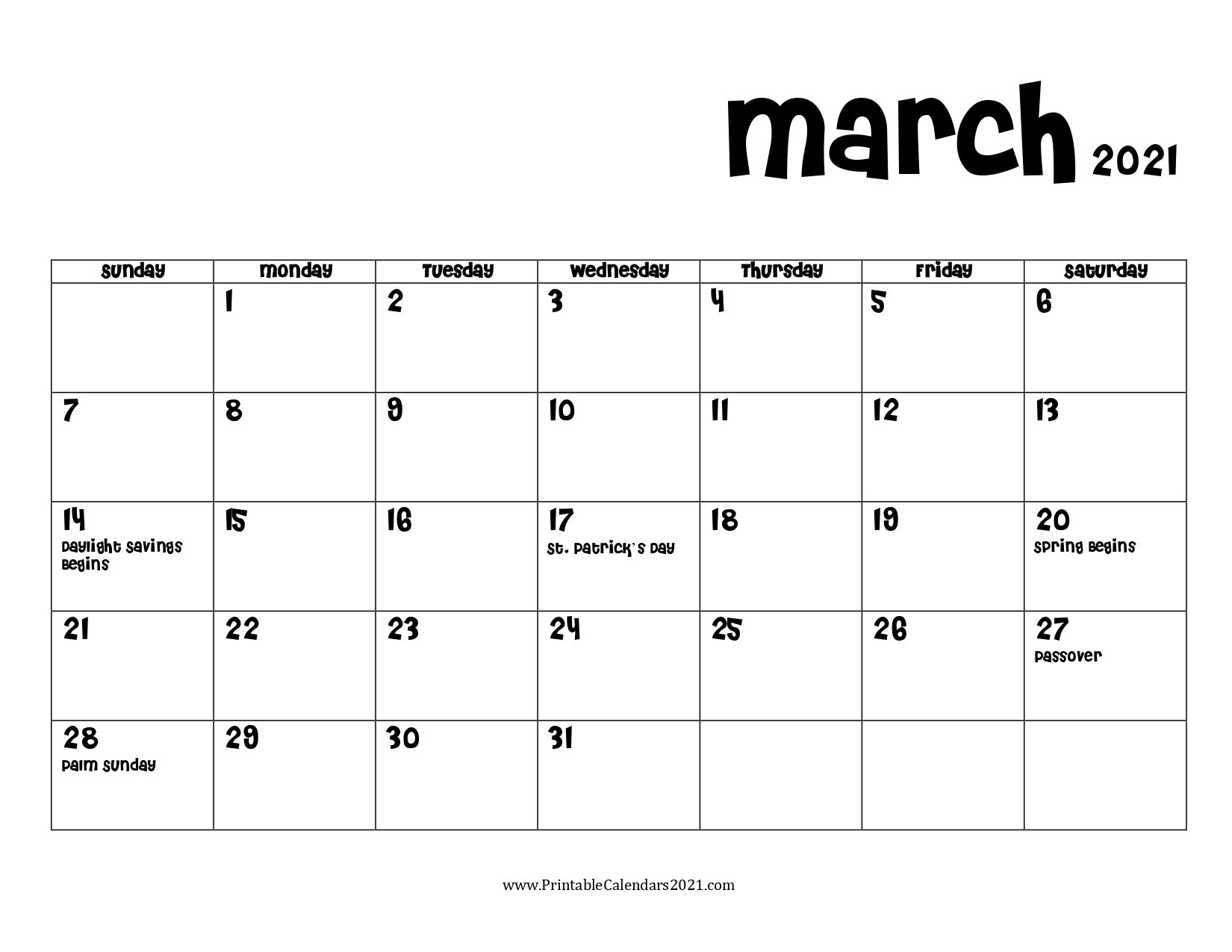 68+ Free March 2021 Calendar Printable With Holidays, Blank, Pdf within Free Printable Planner Pdf 2021 Image