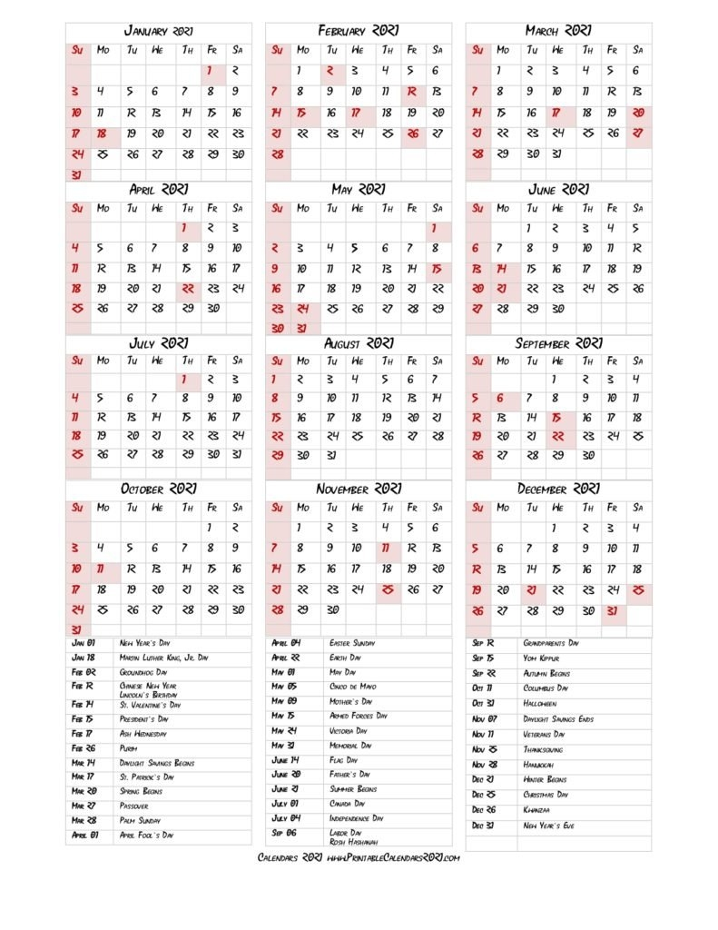 68+ Printable 2021 Yearly Calendar With Holidays, Portrait for Free Printable Yearly Calendars 2021 Portrait Graphics