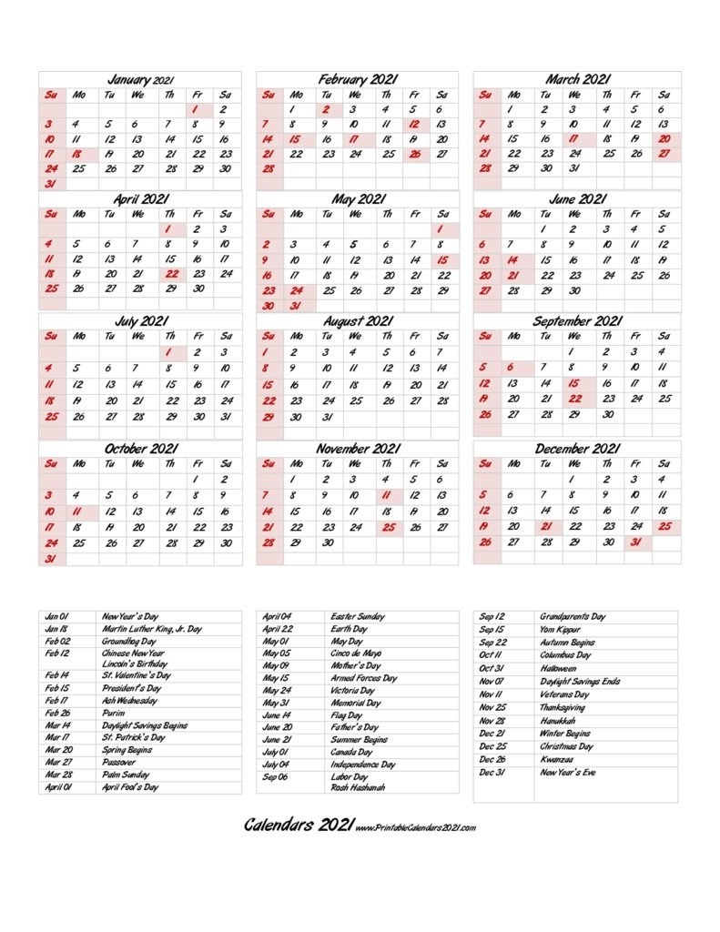 68+ Printable 2021 Yearly Calendar With Holidays, Portrait for One Page 2021 Calendar Printable Images Graphics