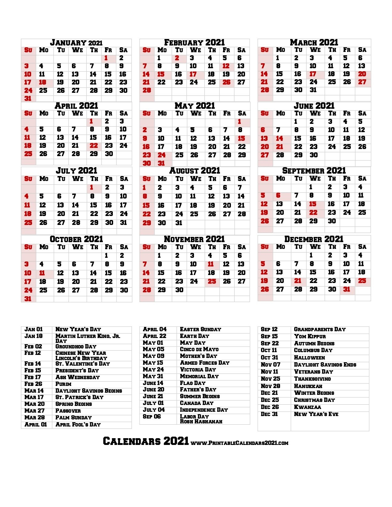 68+ Printable 2021 Yearly Calendar With Holidays, Portrait in 2021 Portrait Calendar Printable Graphics