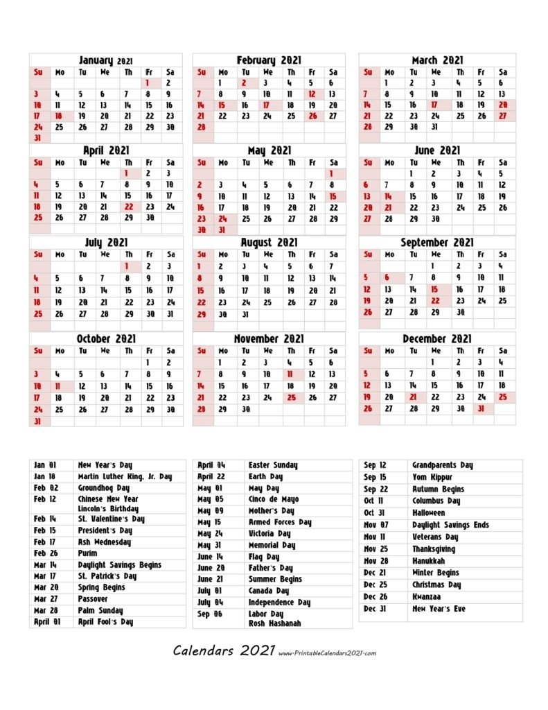 68+ Printable 2021 Yearly Calendar With Holidays, Portrait in Free Printable 2021 Calendar Portrait