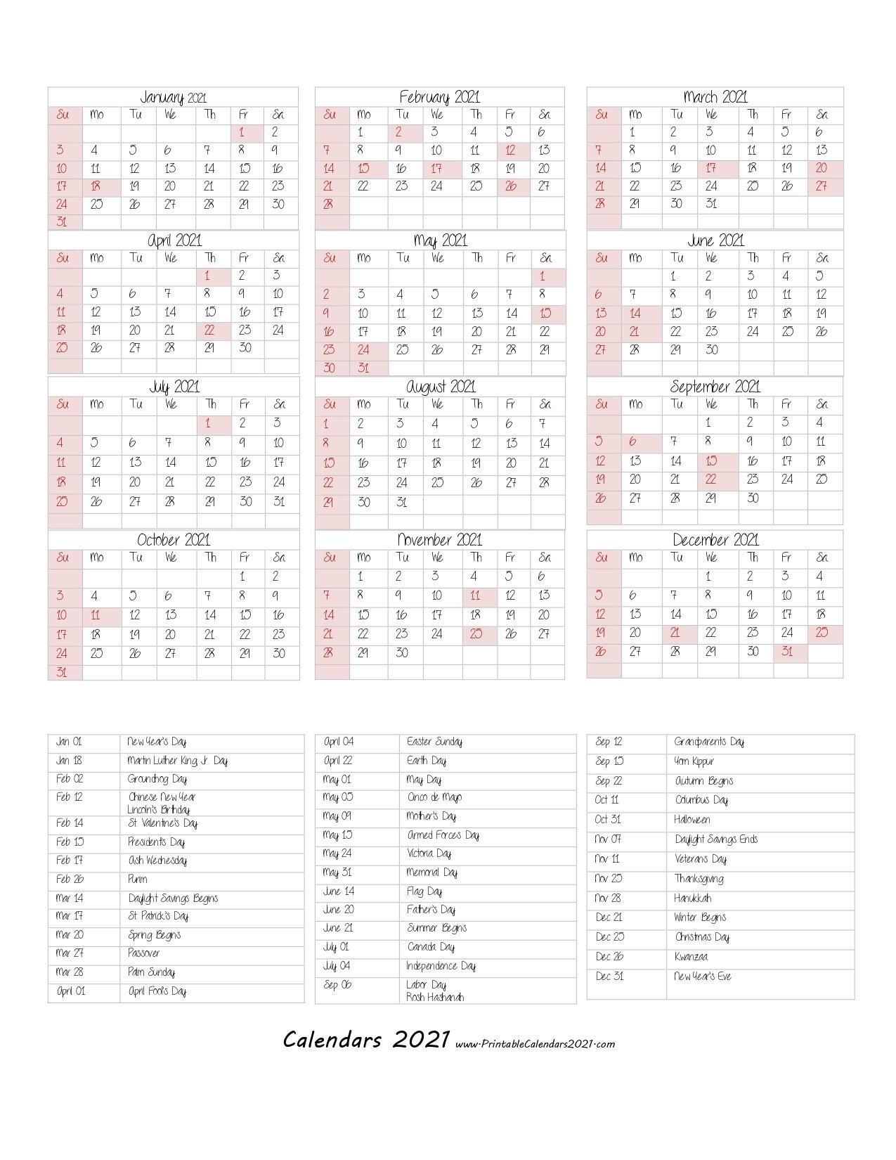 68+ Printable 2021 Yearly Calendar With Holidays, Portrait inside One Page Photo Calendar 2021