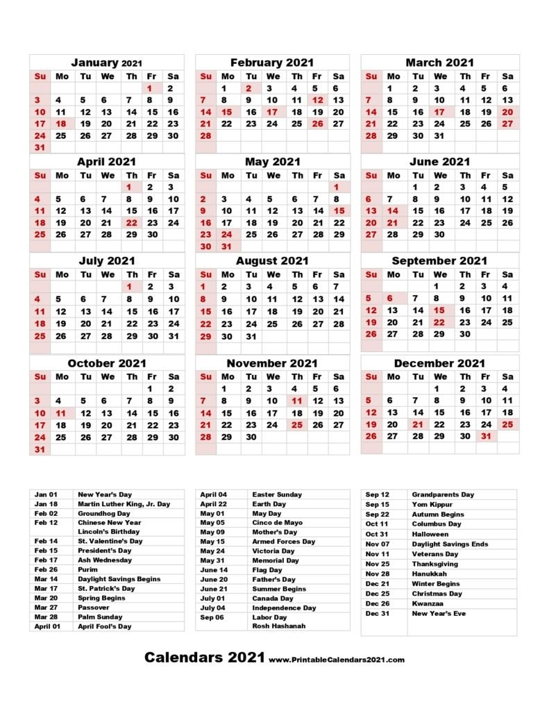 68+ Printable 2021 Yearly Calendar With Holidays, Portrait intended for 2021 Printable Full Year Calendar Image