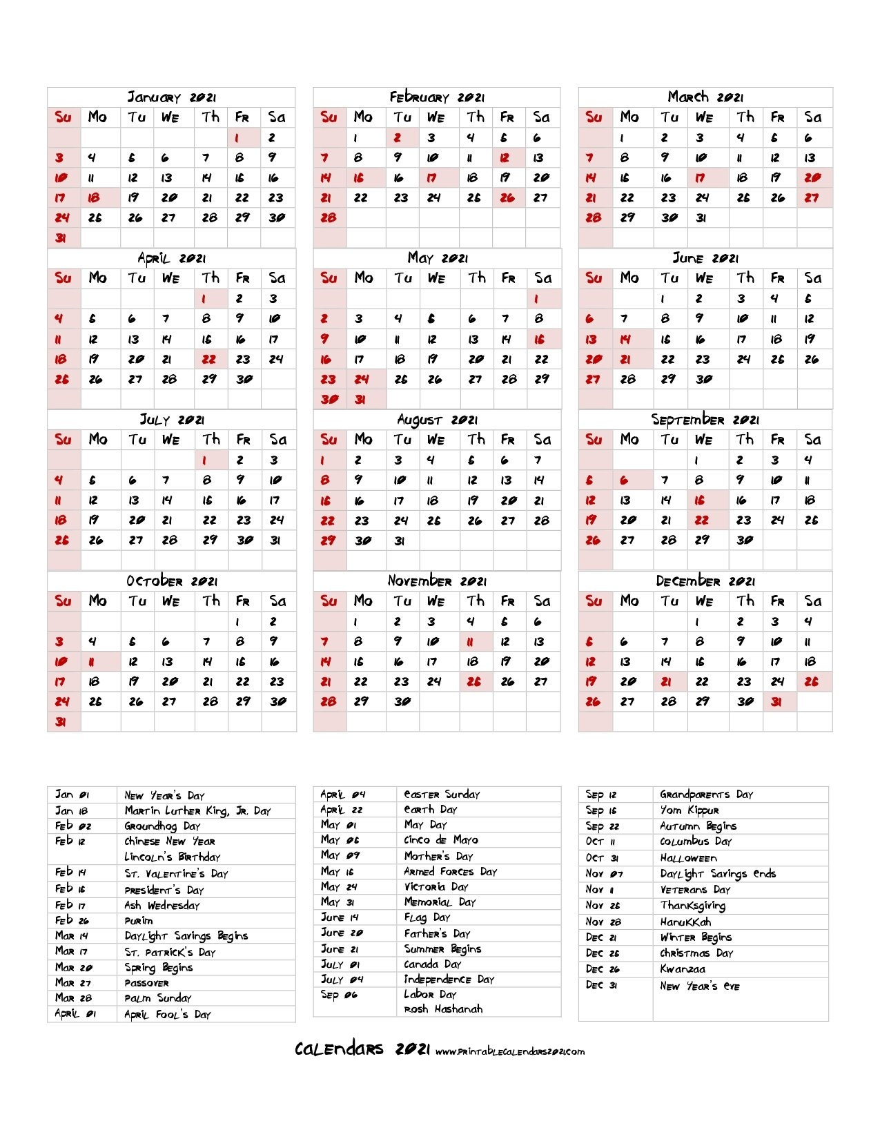 68+ Printable 2021 Yearly Calendar With Holidays, Portrait intended for Free Printable Yearly Calendars 2021 Portrait