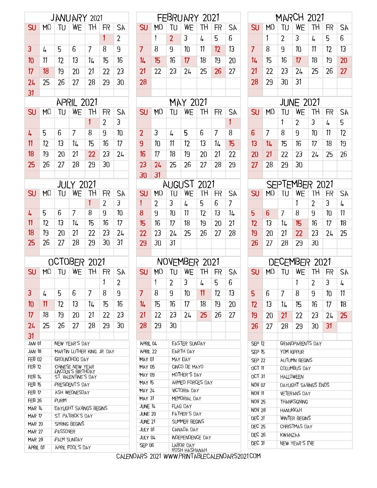 68+ Printable 2021 Yearly Calendar With Holidays, Portrait pertaining to Free Printable 2021 Calendar Portrait