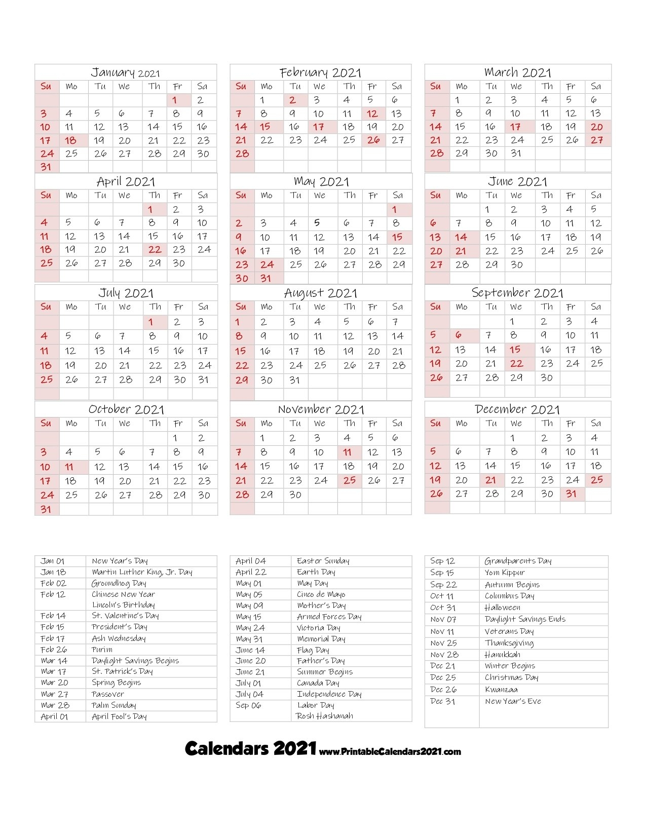 68+ Printable 2021 Yearly Calendar With Holidays, Portrait with regard to 2021 Portrait Calendar Printable Graphics