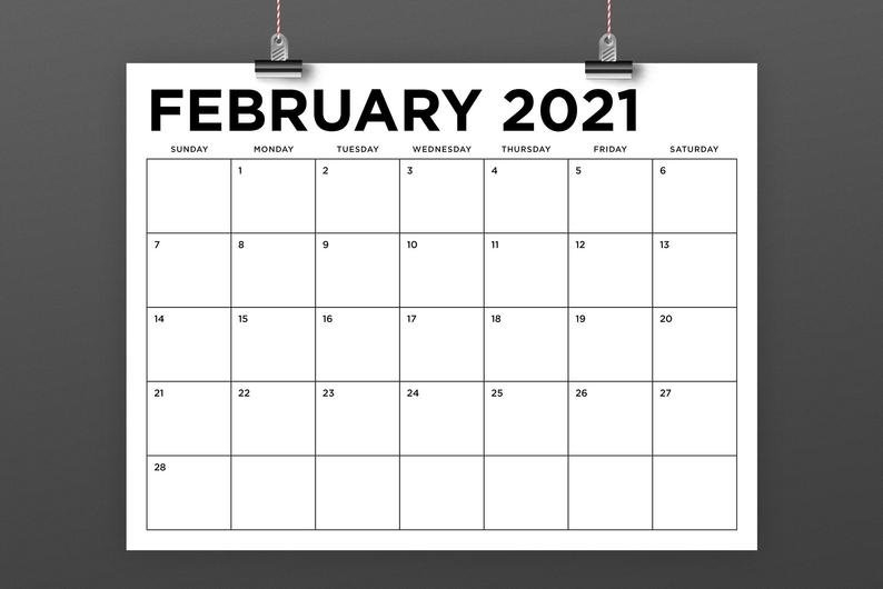 8.5 X 11 Inch 2021 Calendar Template Instant Download | Etsy in Calendar Template 2021 Indesign