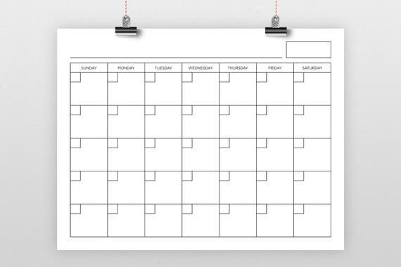 8.5 X 11 Inch Blank Calendar Page Template | Instant Download | Includes S-S Or M-S Monthly throughout 11X17 2021 Calendar Pdf