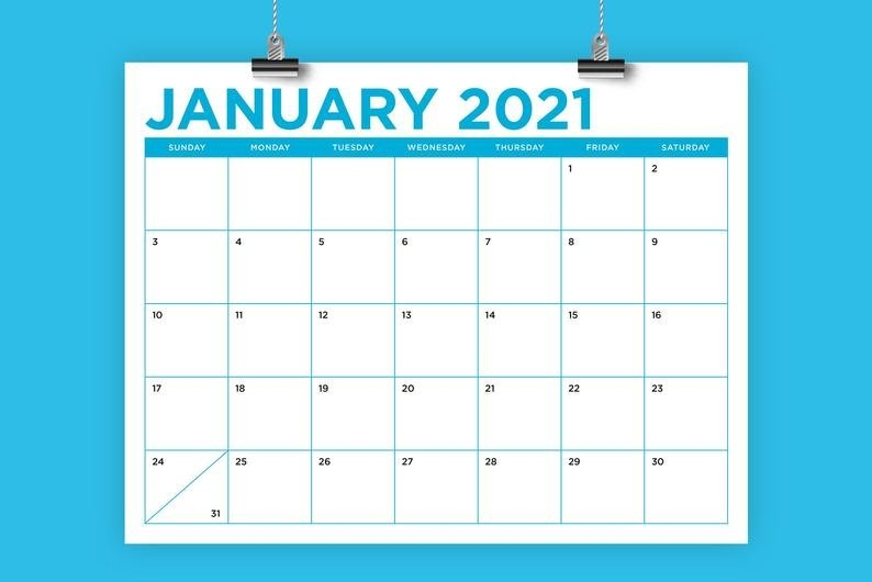 8.5 X 11 Inch Color 2021 Calendar Template Instant Download | Etsy regarding 2021 Indesign Calendar Template