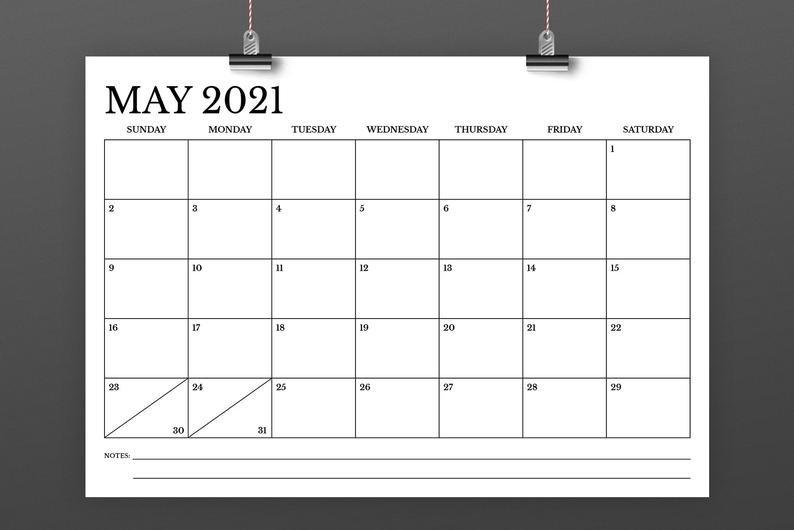A4 2021 Calendar Template Instant Download 297 X 210 Mm | Etsy regarding 2021 Indesign Calendar Template