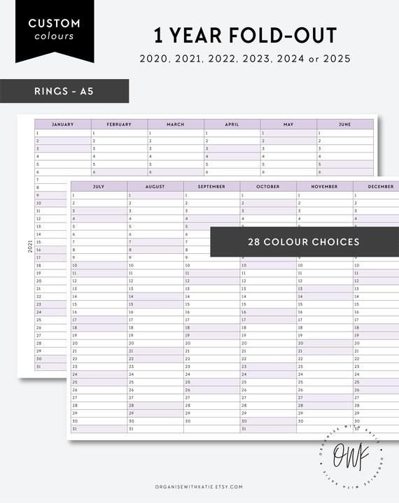 A5 Rings 2020, 2021, 2022, 2023, 2024, 2025 1 Year Planner Fold-Out, Printable Insert, Yearly with regard to October Calendars For 2022 2023 2024 And 2025
