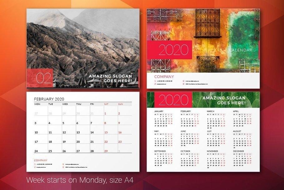 Ad: Wall Calendar 2020Antartstock On @Creativemarket. Wall Calendar 2020 Indesign Template inside Indesign Calendar Template 2021
