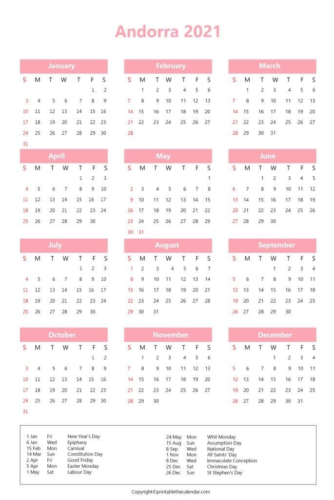 Andorra Holidays 2021   Printable The Calendar pertaining to Free Calendar Brunei 2021 Graphics