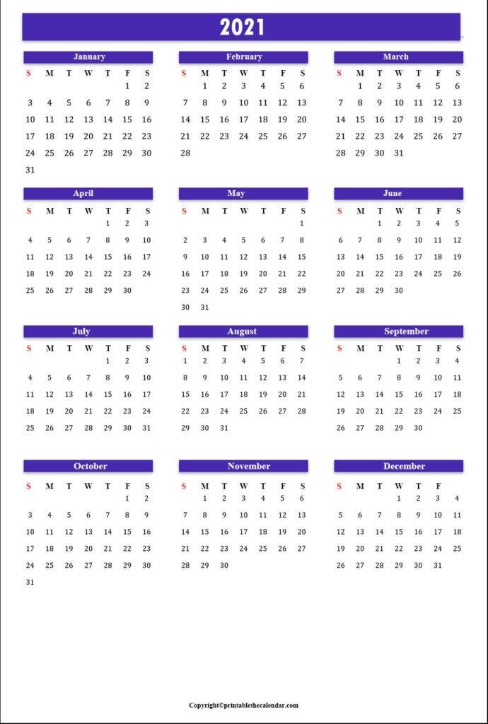 Annual Calendar 2021 | Printable The Calendar within 2021 Yearly Calendar Template Printable