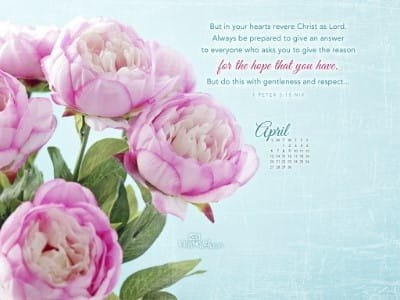 April 2014 - 1 Peter 3:15 Niv Desktop Calendar- Free April Wallpaper with regard to Christian Wallpaper Calendars