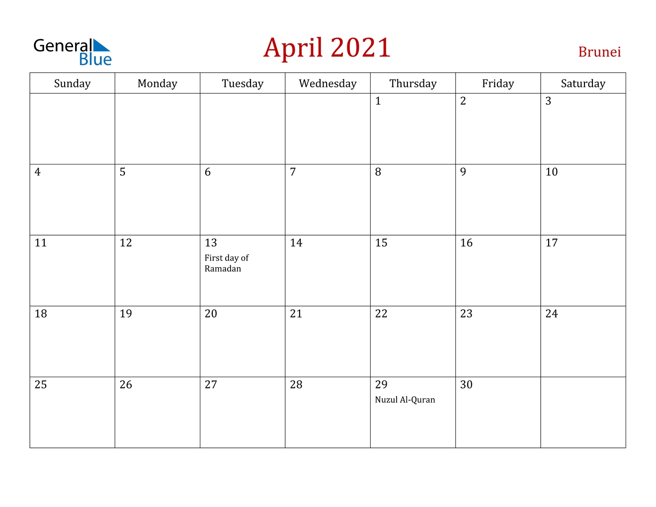 April 2021 Calendar - Brunei in Calendar 2021 Brunei For Print